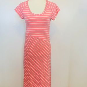 Athlete Coral Striped Women's Maxi Dress Sz Small